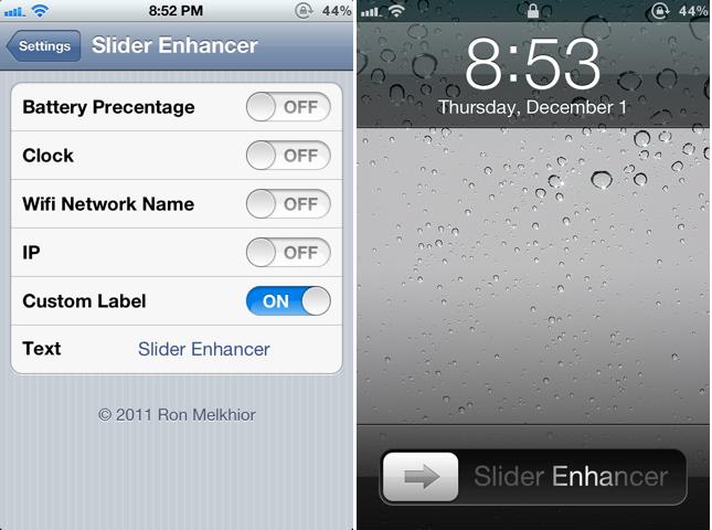 "Change ""Slide to Unlock"" text label on iPhone using Slider Enhancer"